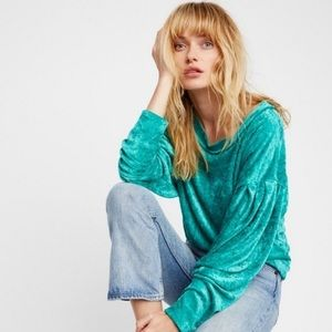 We The Free Milan Layering Top in Green Velvet